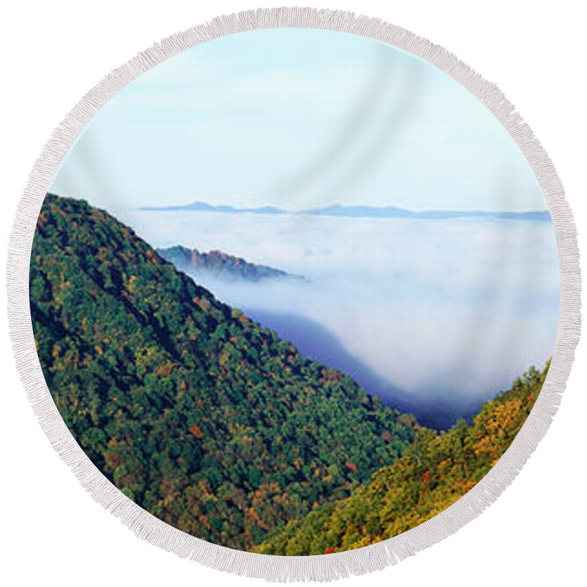 Photography Round Beach Towel featuring the photograph Morning Fog At Sunrise In Autumn by Panoramic Images