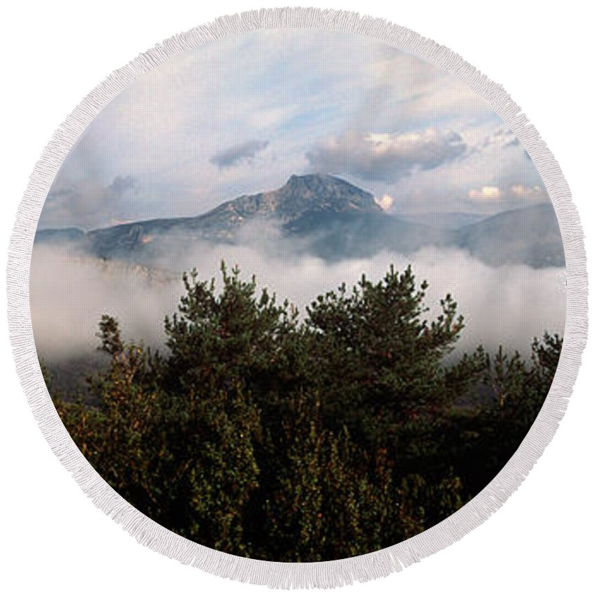 Photography Round Beach Towel featuring the photograph Morning Fog In Autumn In The Verdon by Panoramic Images