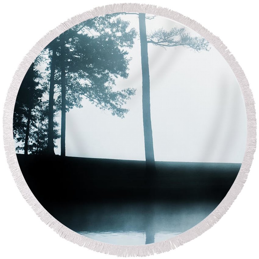 Round Beach Towel featuring the photograph Morning Fog by Parker Cunningham