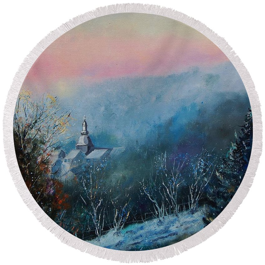 Winter Round Beach Towel featuring the painting Morning Frost by Pol Ledent