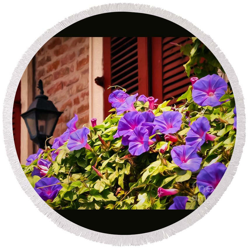 Shutter Round Beach Towel featuring the photograph Morning Glories In Nola by Kathleen K Parker