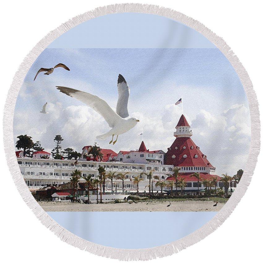 Beach Round Beach Towel featuring the photograph Morning Gulls On Coronado by Margie Wildblood