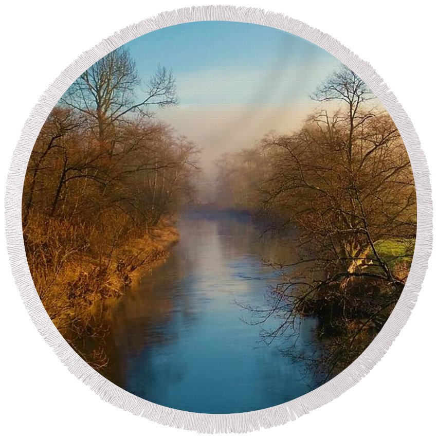 Landscape Round Beach Towel featuring the photograph A Winter Morning by Jane Powell