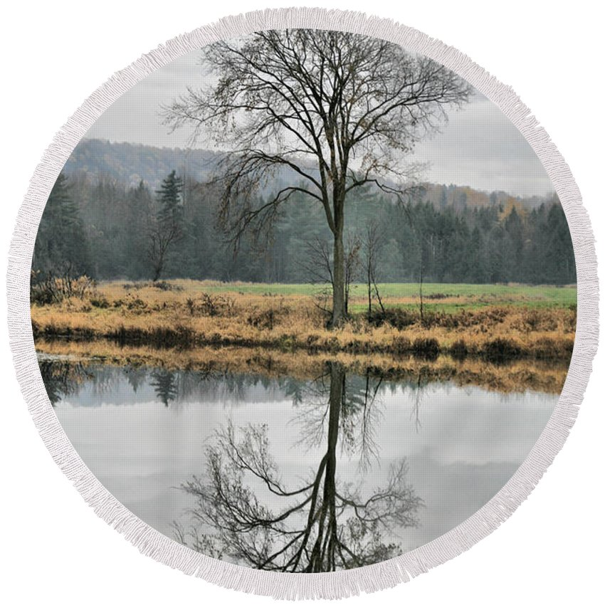 Reflections Round Beach Towel featuring the photograph Morning Haze And Reflections by Deborah Benoit