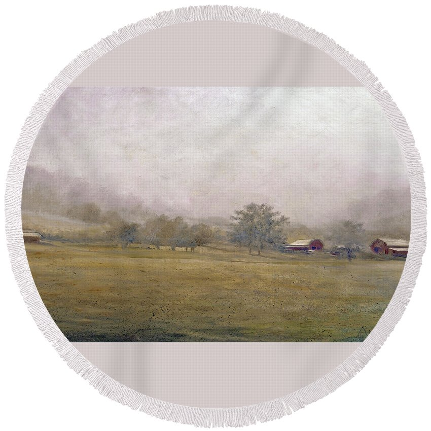 Landscape Round Beach Towel featuring the painting Morning In Georgia by Andrew King