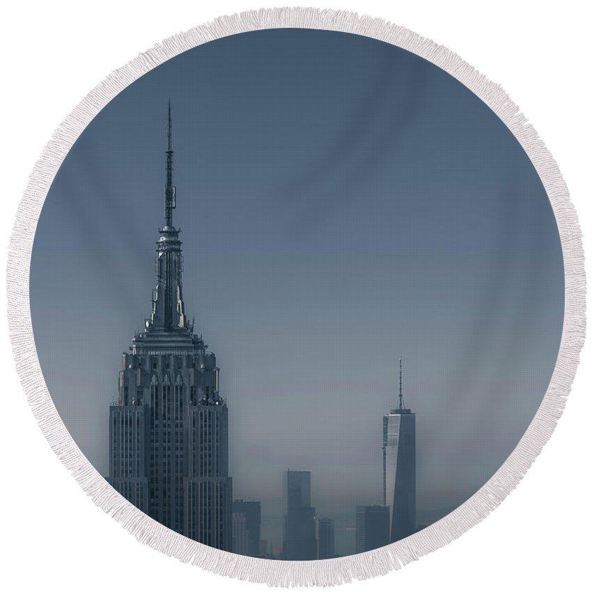 New York City Skyline Round Beach Towels