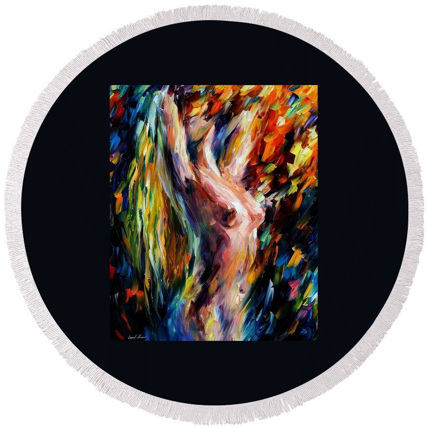 Nude Round Beach Towel featuring the painting Morning by Leonid Afremov