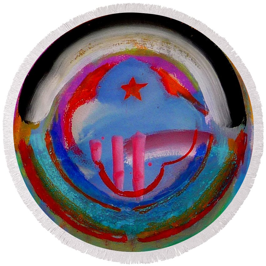 Logo Round Beach Towel featuring the painting Morning Light by Charles Stuart