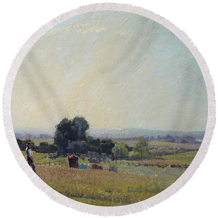 Elioth Gruner Round Beach Towel featuring the painting Morning Light by Elioth Gruner
