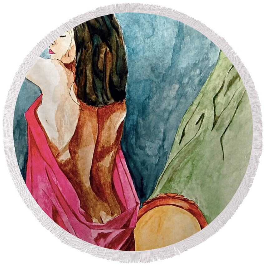 Nudes Women Round Beach Towel featuring the painting Morning Light by Herschel Fall