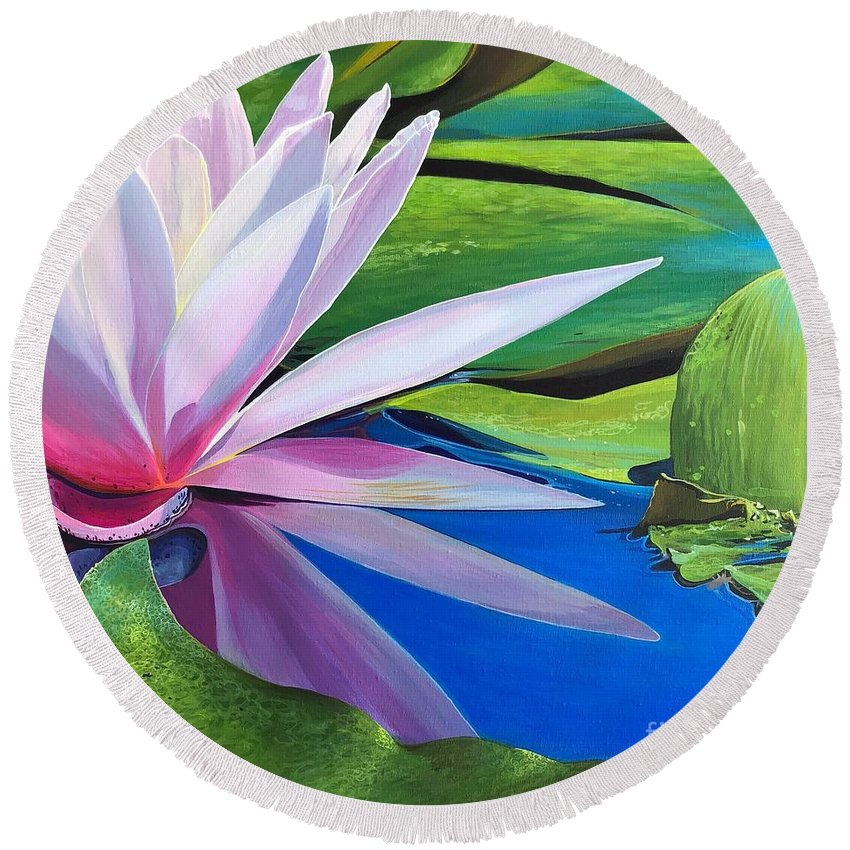 Waterlily Round Beach Towel featuring the painting Morning Light by Hunter Jay