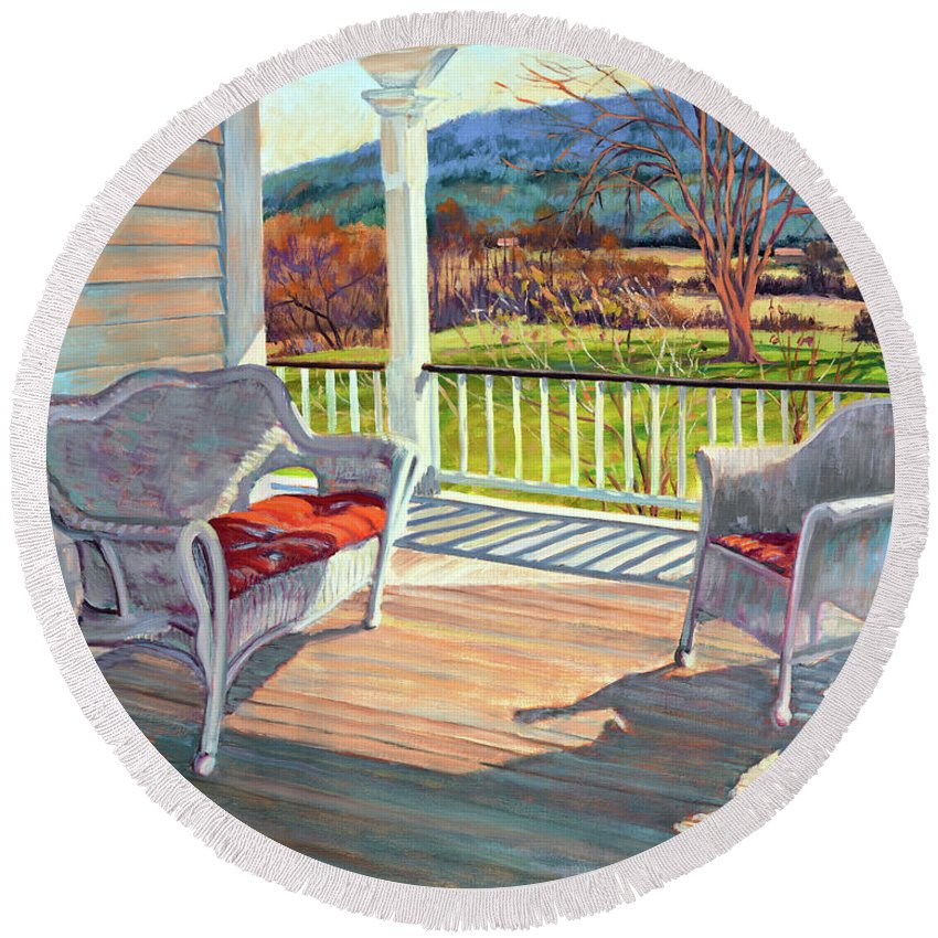 Impressionism Round Beach Towel featuring the painting Morning Light by Keith Burgess