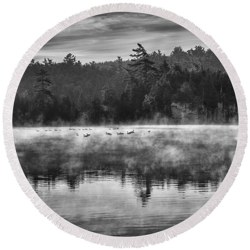 Mist Round Beach Towel featuring the photograph Morning Mist by Eunice Gibb