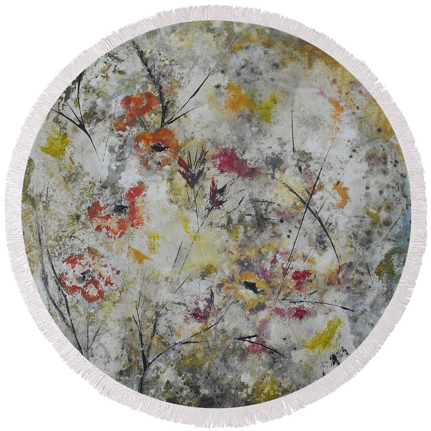 Abstract Round Beach Towel featuring the painting Morning Mist by Ruth Palmer