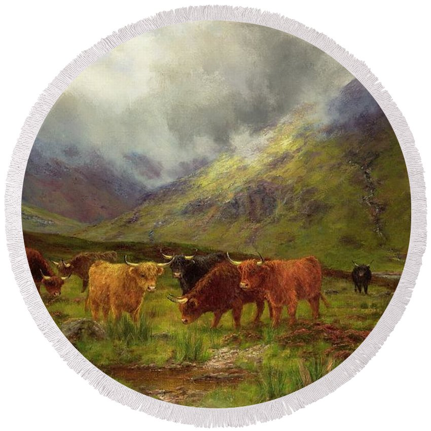 Landscape; Highlands; Scottish; Highland Cows; Mist; River; Aberdeen Angus; Glen; Valley; Horns Round Beach Towel featuring the painting Morning Mists by Louis Bosworth Hurt
