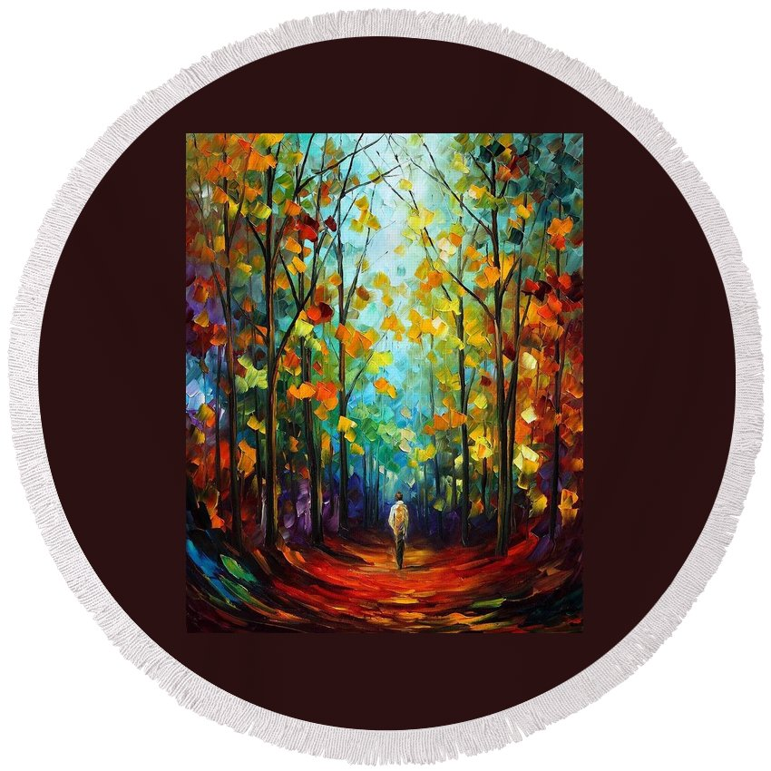 Afremov Round Beach Towel featuring the painting Morning Mood by Leonid Afremov