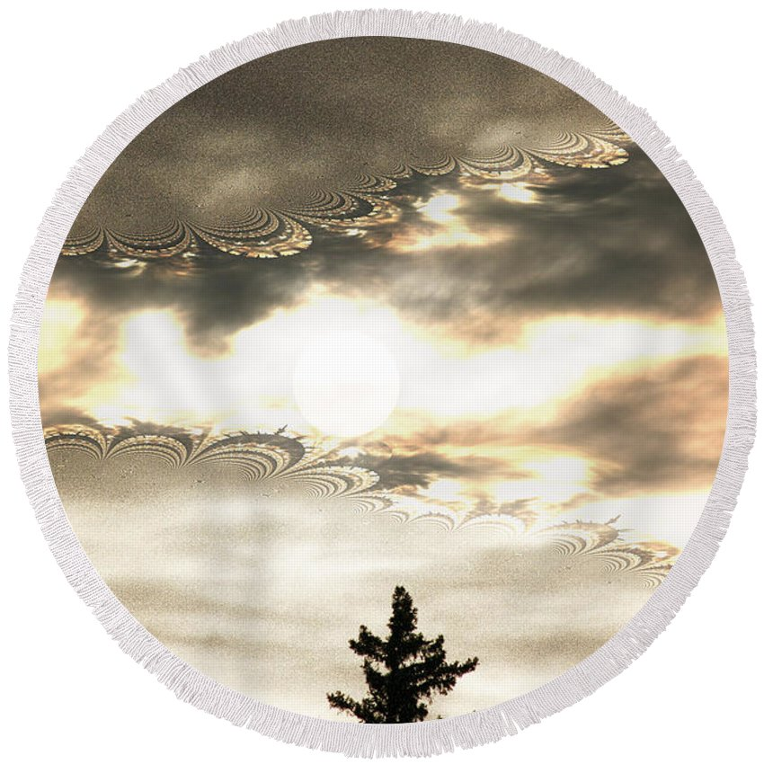 Moon Sky Trees Abstract Forest Wild Portal Clouds Gold Fractal Round Beach Towel featuring the digital art Morning Moon by Andrea Lawrence