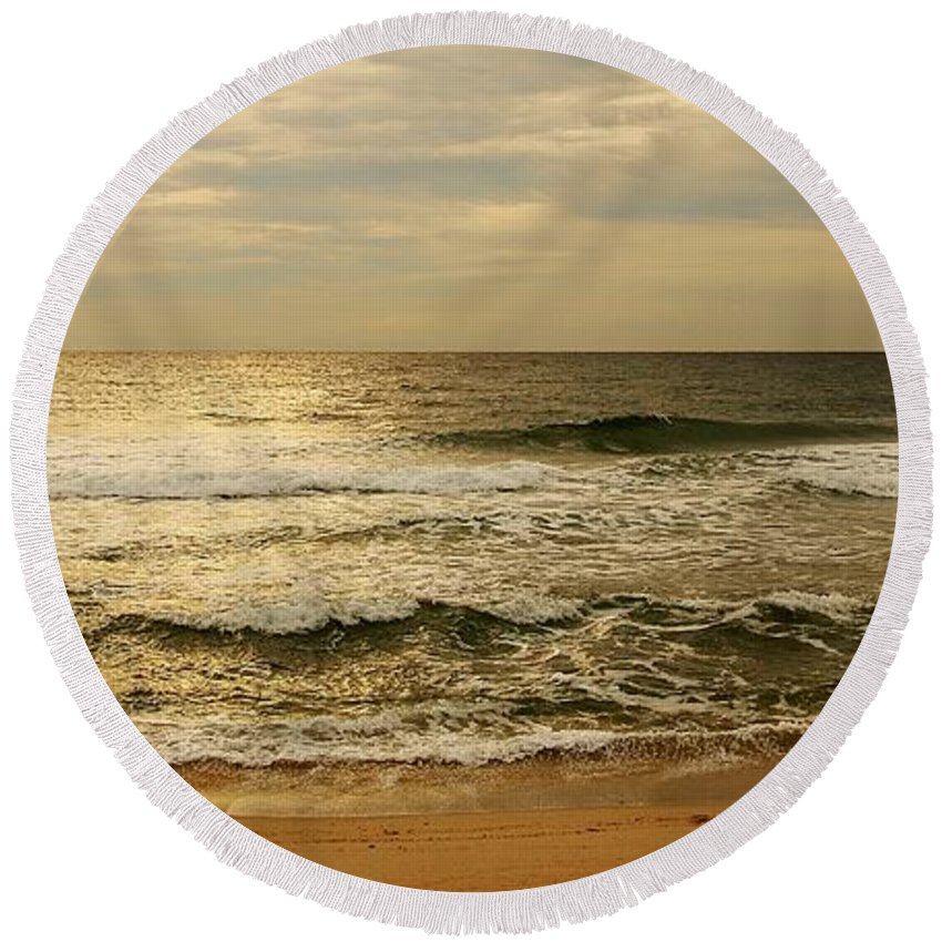 Jersey Shore Round Beach Towel featuring the photograph Morning On The Beach - Jersey Shore by Angie Tirado