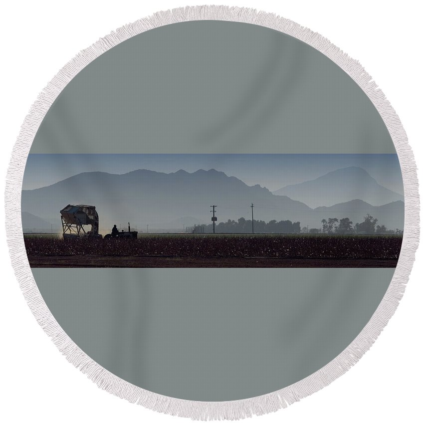 Farm Round Beach Towel featuring the photograph Morning On The Farm by Scott Sawyer