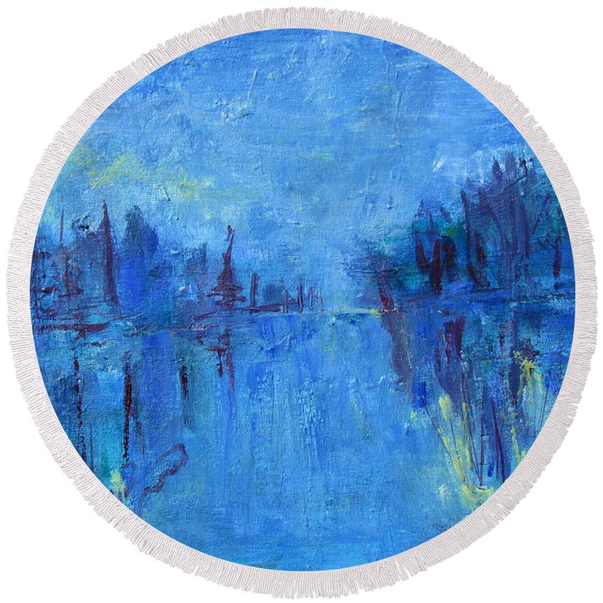 Blue Abstract Of Water And Trees Round Beach Towel featuring the painting Morning On The Point by Betty Pieper