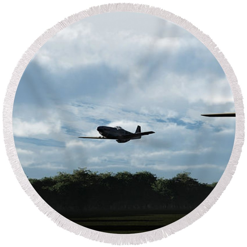 Aircraft Round Beach Towel featuring the digital art Morning Run by Richard Rizzo