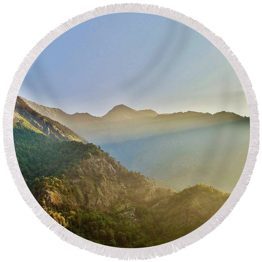Sunrise Round Beach Towel featuring the photograph Morning Shadows In The Himalayas by Kim Bemis