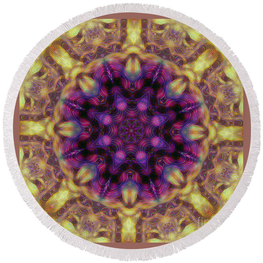 Kaleidoscope Round Beach Towel featuring the photograph 10301 Morning Sky Kaleidoscope 01b by Colin Hunt