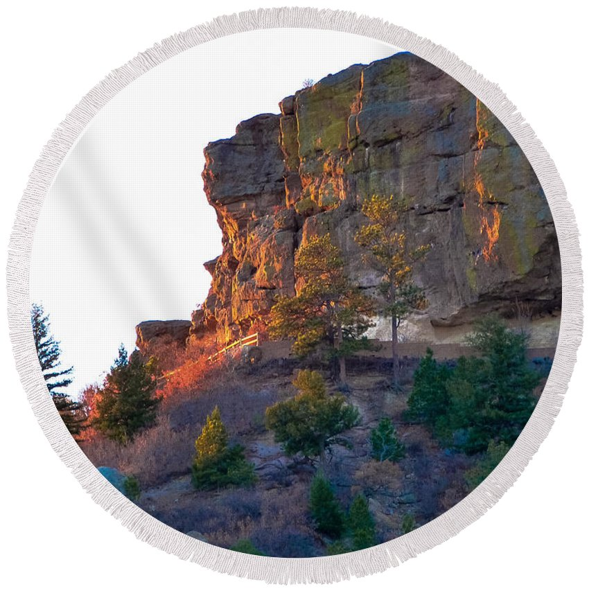 Colorado Round Beach Towel featuring the photograph Morning Sun On Castle Rock by Jeanette Wygant