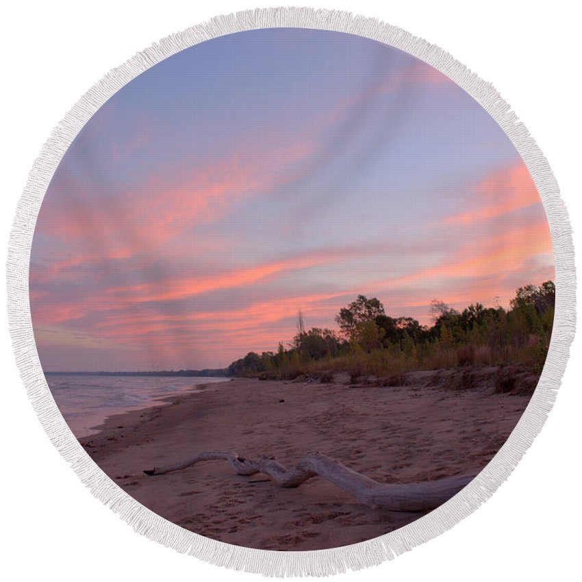 Grand Bend Round Beach Towel featuring the photograph Morning Sunrise 2 by John Scatcherd
