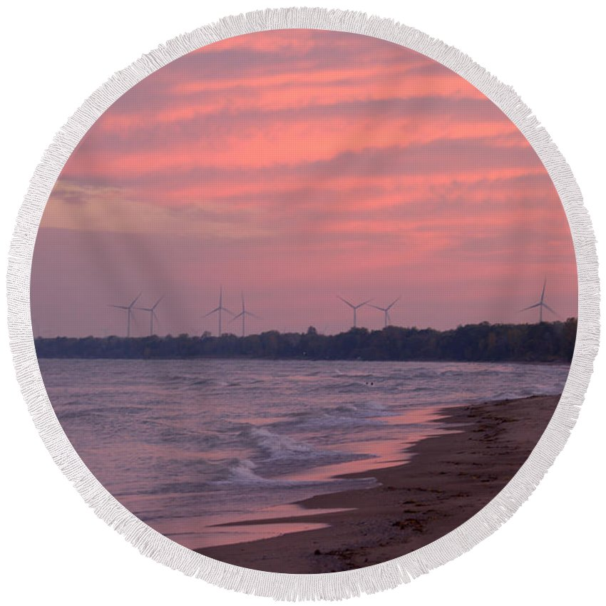 Grand Bend Round Beach Towel featuring the photograph Morning Sunrise 3 by John Scatcherd