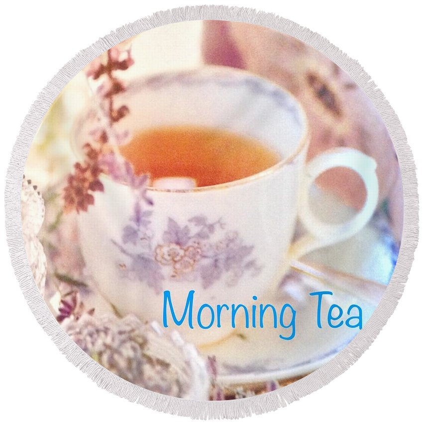Round Beach Towel featuring the photograph Morning Tea by Jacqueline Manos