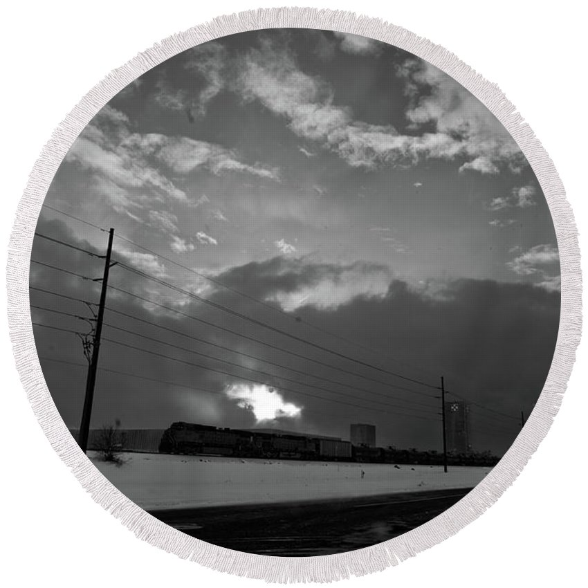 Seshat Round Beach Towel featuring the photograph Morning Train In Black And White by Scott Sawyer