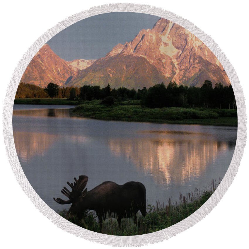 Grand Teton Round Beach Towel featuring the photograph Morning Tranquility by Sandra Bronstein