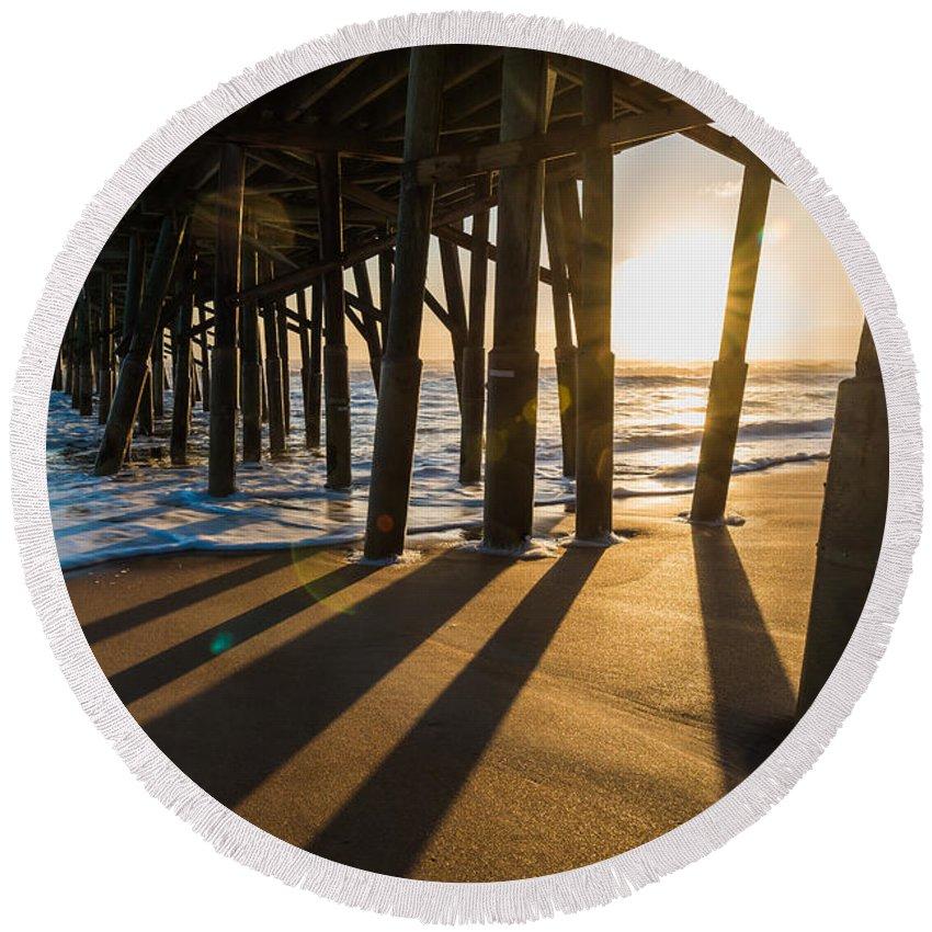 Flagler Beach Round Beach Towel featuring the photograph Morning Views by Kristopher Schoenleber