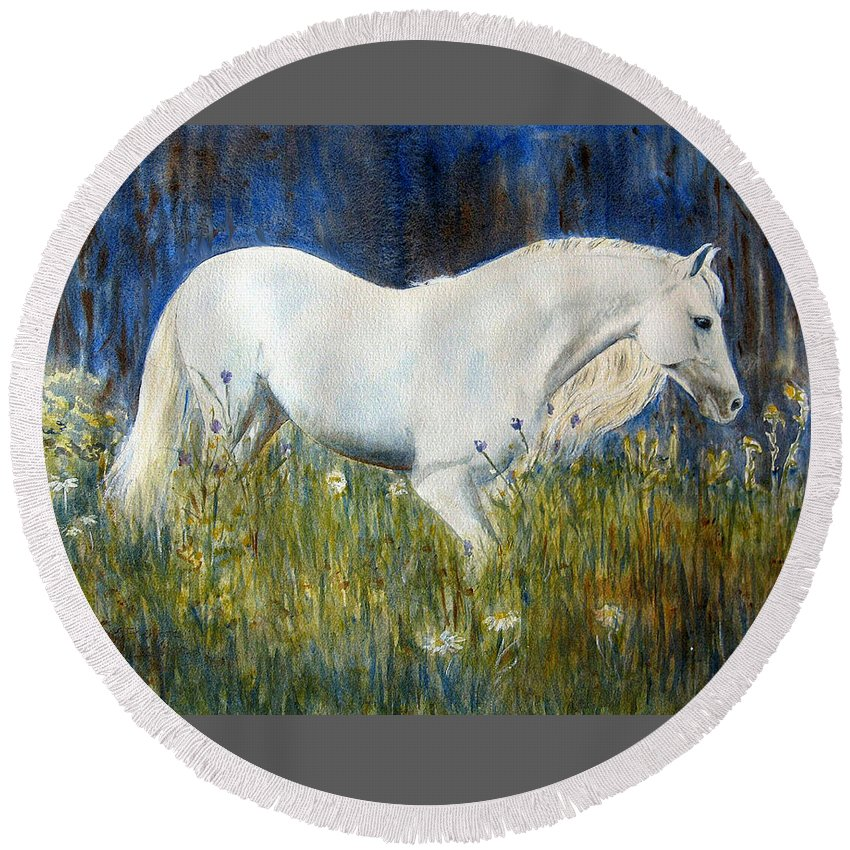 Horse Painting Round Beach Towel featuring the painting Morning Walk by Frances Gillotti