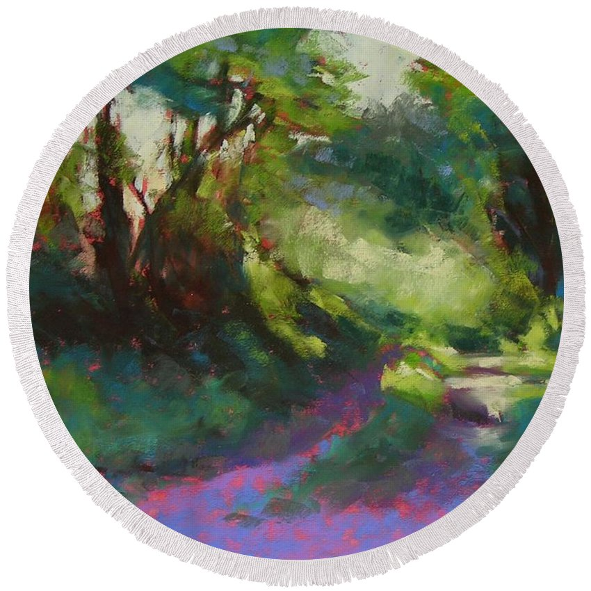 Pastel Round Beach Towel featuring the painting Morning Walk II by Mary McInnis