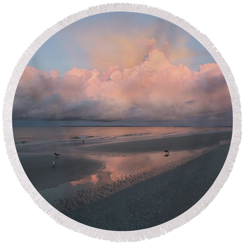 Water Round Beach Towel featuring the photograph Morning Walk On The Beach by Kim Hojnacki