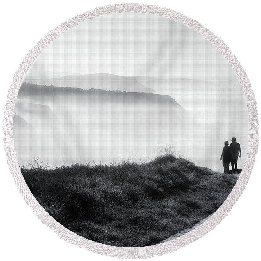 Walk Round Beach Towel featuring the photograph Morning Walk With Sea Mist by Mikel Martinez de Osaba