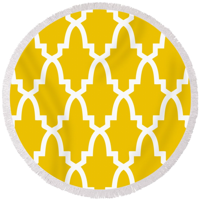Moroccan Arch Round Beach Towel featuring the digital art Moroccan Arch With Border In Mustard by Custom Home Fashions