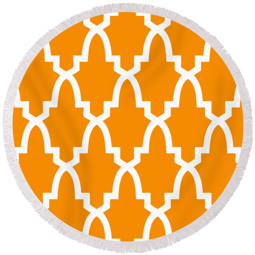 Moroccan Arch Round Beach Towel featuring the digital art Moroccan Arch With Border In Tangerine by Custom Home Fashions