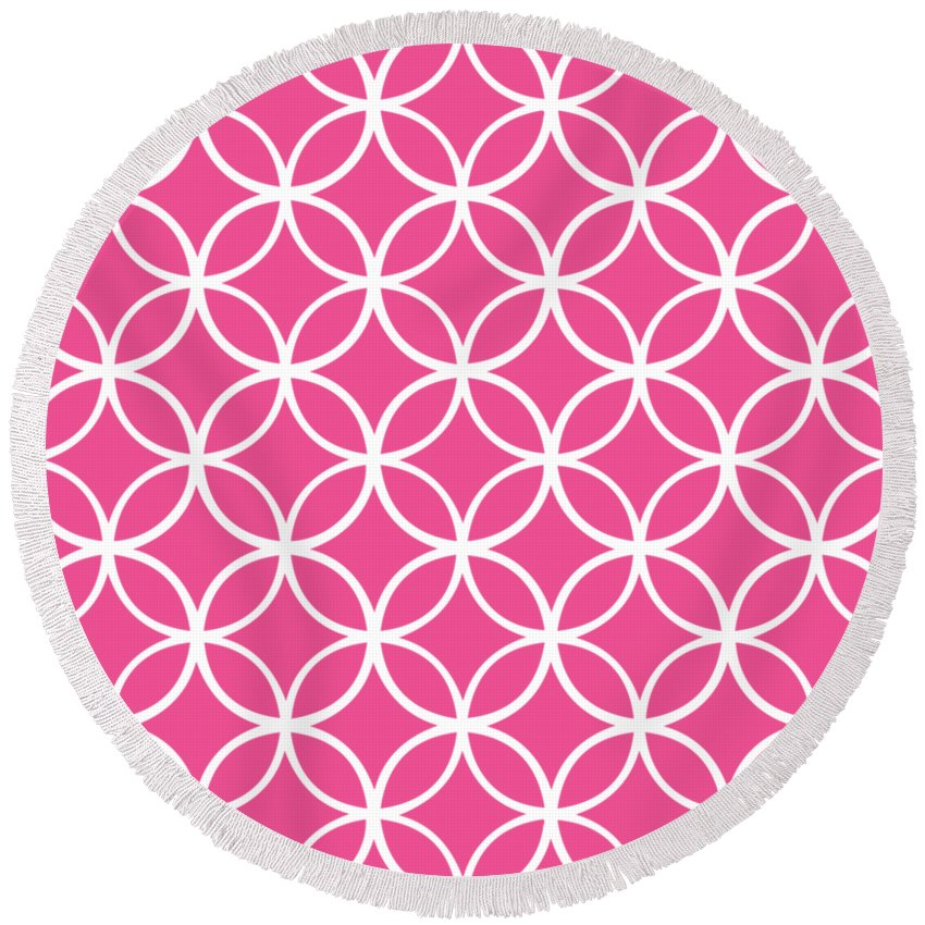 Moroccan Endless Circles I Round Beach Towel featuring the digital art Moroccan Endless Circles I With Border In French Pink by Custom Home Fashions