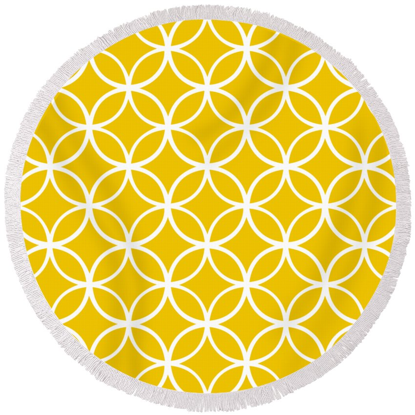 Moroccan Endless Circles I Round Beach Towel featuring the digital art Moroccan Endless Circles I With Border In Mustard by Custom Home Fashions