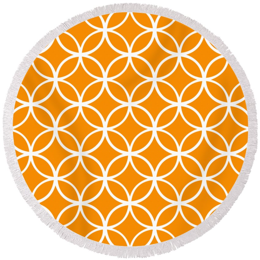 Moroccan Endless Circles I Round Beach Towel featuring the digital art Moroccan Endless Circles I With Border In Tangerine by Custom Home Fashions