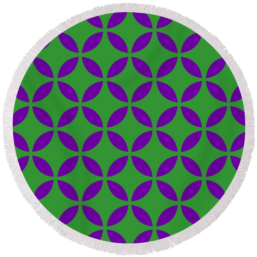 Moroccan Endless Circles Ii Round Beach Towel featuring the digital art Moroccan Endless Circles II With Border In Dublin Green by Custom Home Fashions