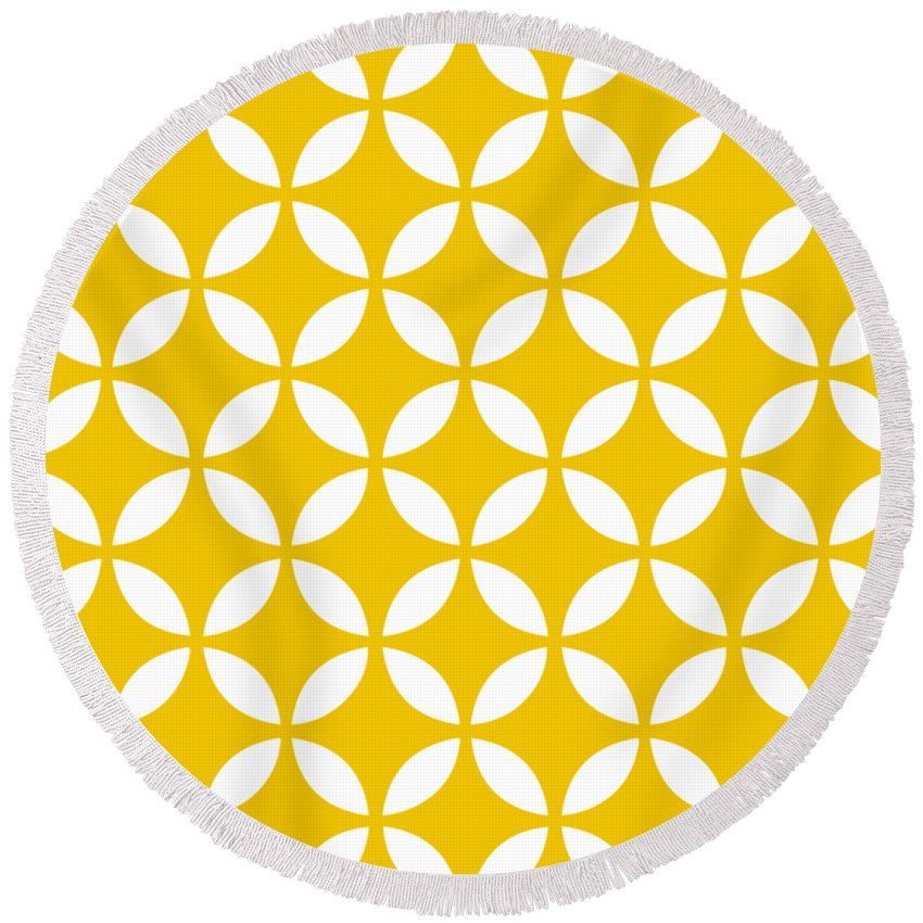 Moroccan Endless Circles Ii Round Beach Towel featuring the digital art Moroccan Endless Circles II With Border In Mustard by Custom Home Fashions