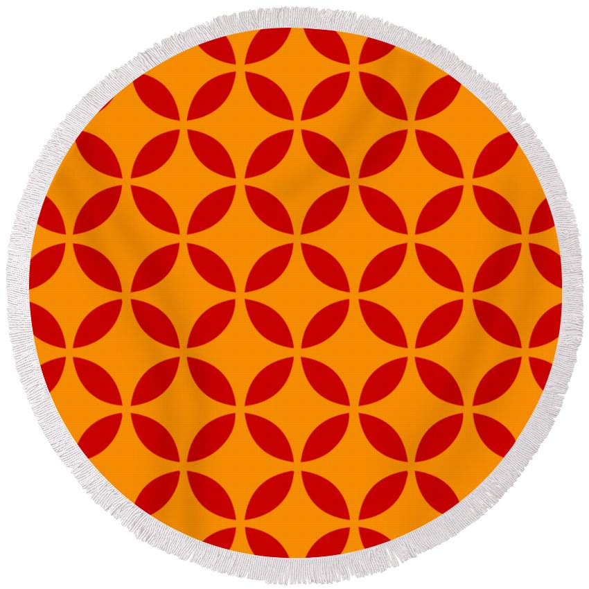 Moroccan Endless Circles Ii Round Beach Towel featuring the digital art Moroccan Endless Circles II With Border In Tangerine by Custom Home Fashions
