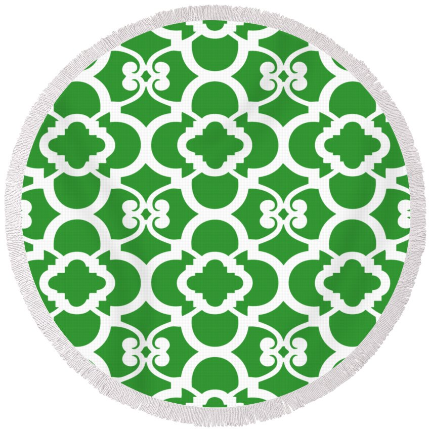 Moroccan Floral Inspired Round Beach Towel featuring the digital art Moroccan Floral Inspired With Border In Dublin Green by Custom Home Fashions