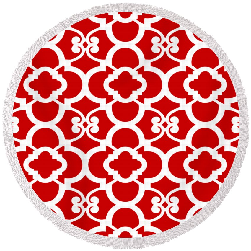 Moroccan Floral Inspired Round Beach Towel featuring the digital art Moroccan Floral Inspired With Border In Red by Custom Home Fashions
