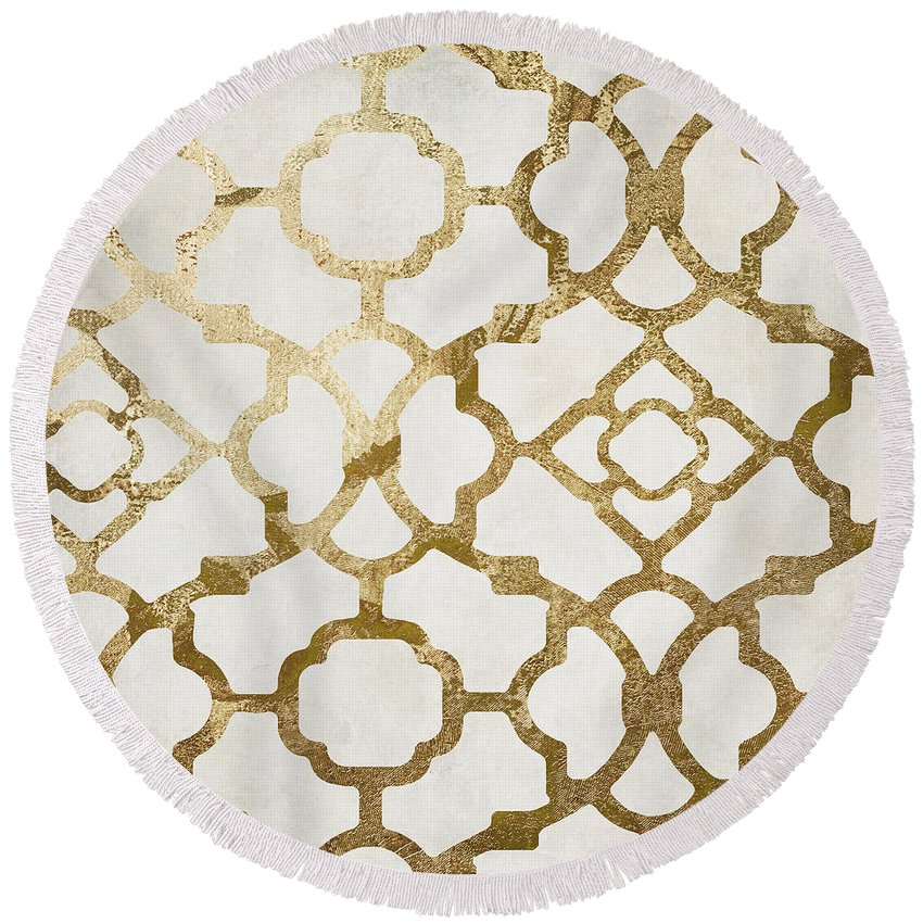 Gold Round Beach Towel featuring the painting Moroccan Gold I by Mindy Sommers