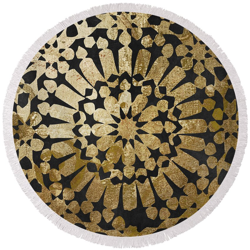 Gold Round Beach Towel featuring the painting Moroccan Gold IV by Mindy Sommers